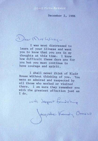 Letter To Jacqueline Kennedy Cary Grant Condolence Telegram